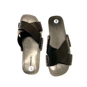 VINCE Black Nico Cross Strap Flat Sandals Size 6